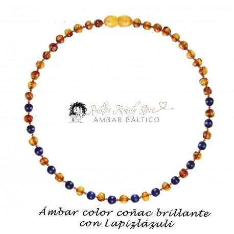 Collar Ámbar Coñac Brillante con Lapislázuli