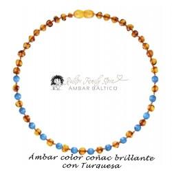 Collar de Ámbar Báltico Coñac Brillante con Turquesa