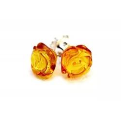 Pendientes de Flor en tono Miel de Ámbar Báltico